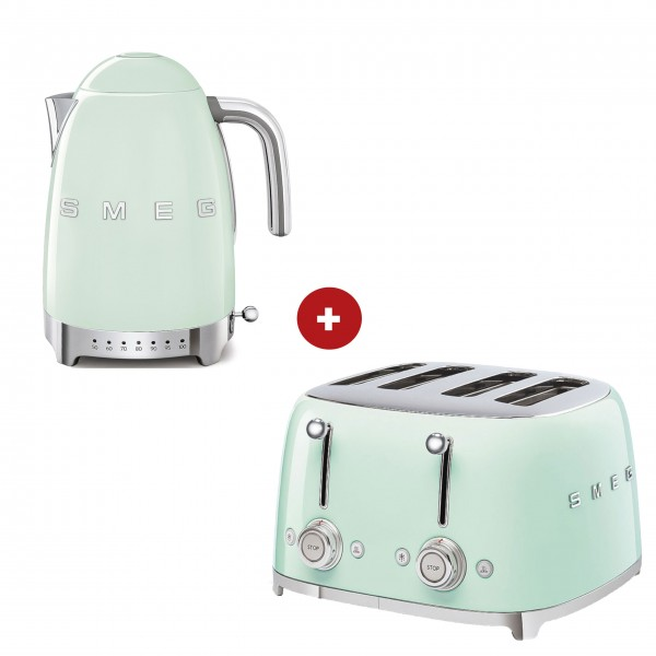 smeg Set – 4-Schlitz-Toaster und Wasserkocher variable Temperatur (Pastellgrün)