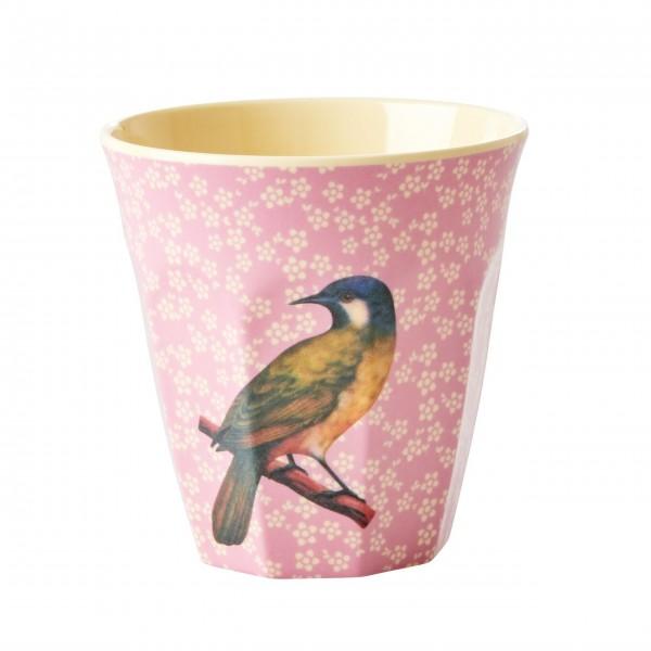 """Piep, piep, piep - hier kommt der Rice Melamin Becher """"Vintage Bird"""" - M (Pink)"""