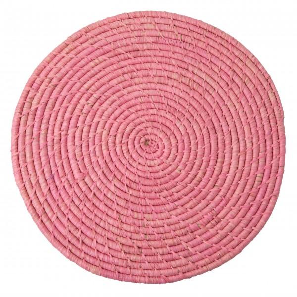 Rice - Großer Untersetzer aus Raffia (Soft Pink)