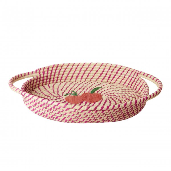 "rice Brotkorb aus Raffia - Oval ""Peach"" (Rosa)"