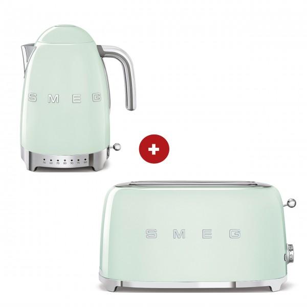 smeg Set – 2-Schlitz-Toaster lang und Wasserkocher variable Temperatur (Pastellgrün)