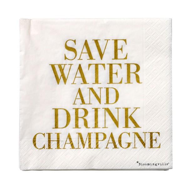 """Bloomingville Papierservietten """"Save Water & Drink Champagne"""""""