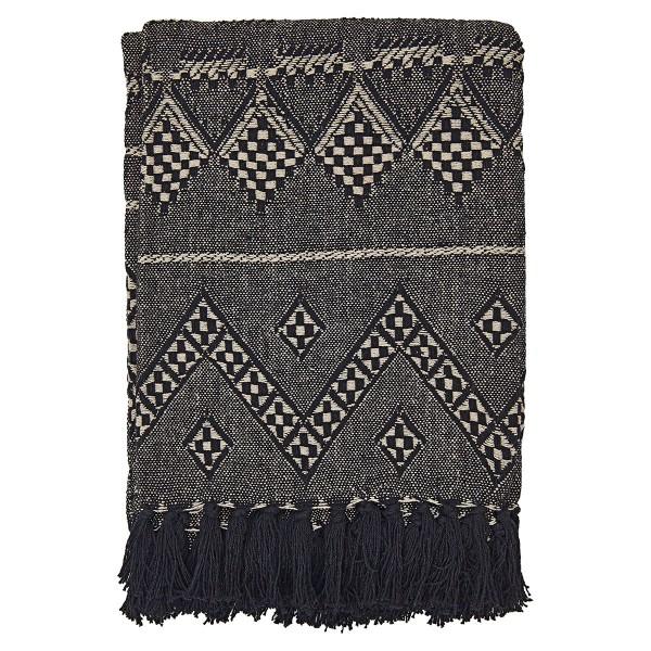 Baumwolldecke im schwarzen Aztekmuster