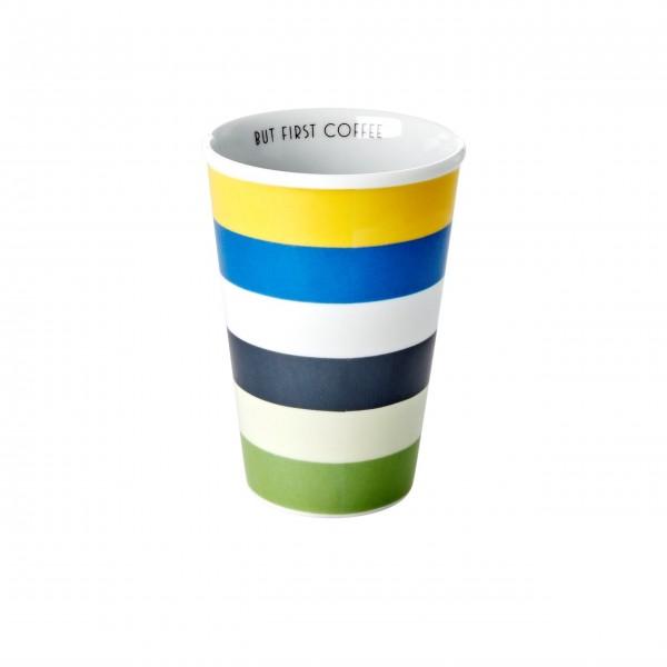 """Rice Porzellan Becher """"Stripes - But first coffee"""" - 300 ml (Bunt)"""