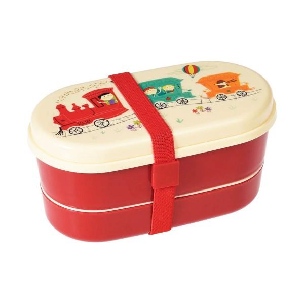 Hübsche Bentobox zweistöckig und mit coole Zug-Print