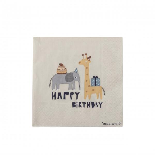 "Bloomingville Mini Papier-Servietten ""Carlis - Happy Birthday"" (Natur)"