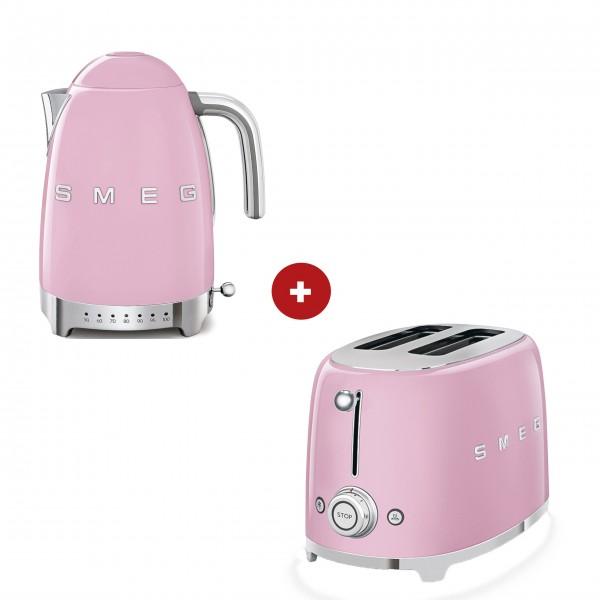 smeg Set – 2-Schlitz-Toaster kompakt und Wasserkocher variable Temperatur (Cadillac Pink)