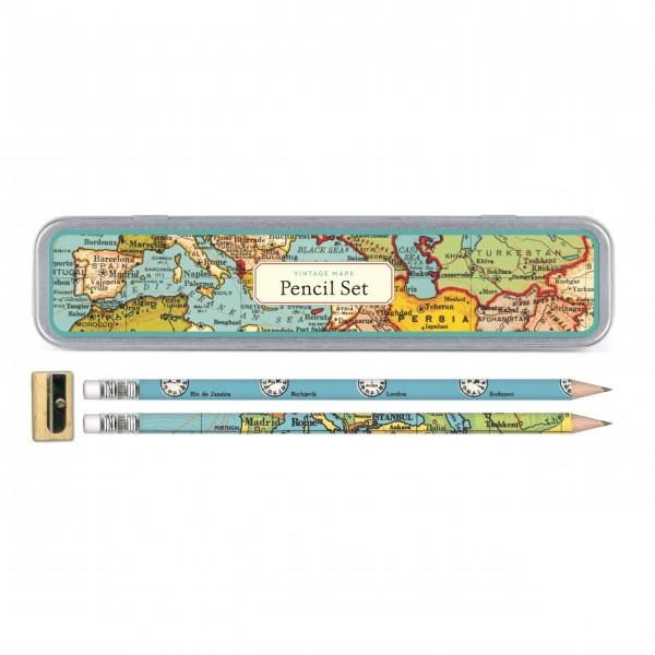 """Cavallini Bleistift-Set """"Vintage Maps"""""""