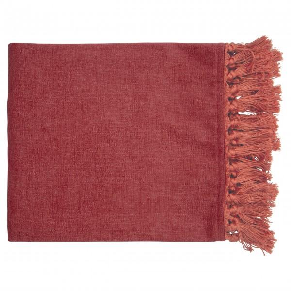 GreenGate Decke mit Fransen - 180x130cm (Dusty red)