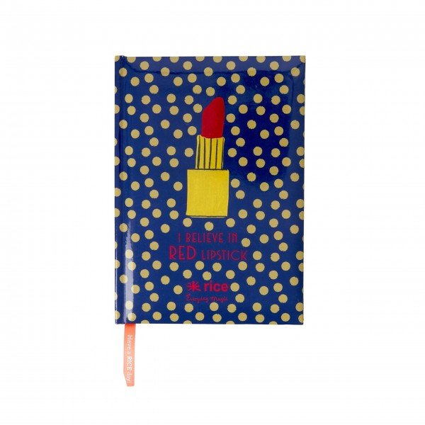 Rice A5 Bullet Journal with Dotted Pages - Dark Blue with Gold Dots and Lipstick