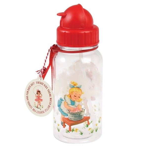 """Der hübsche Durstlöscher im """"Vintage Girl""""-Design - Flasche mit Strohhalm"""