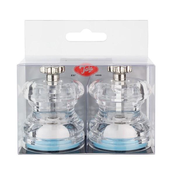 Kleine Gewürzmühlen in transparentem Kunststoffgehäuse