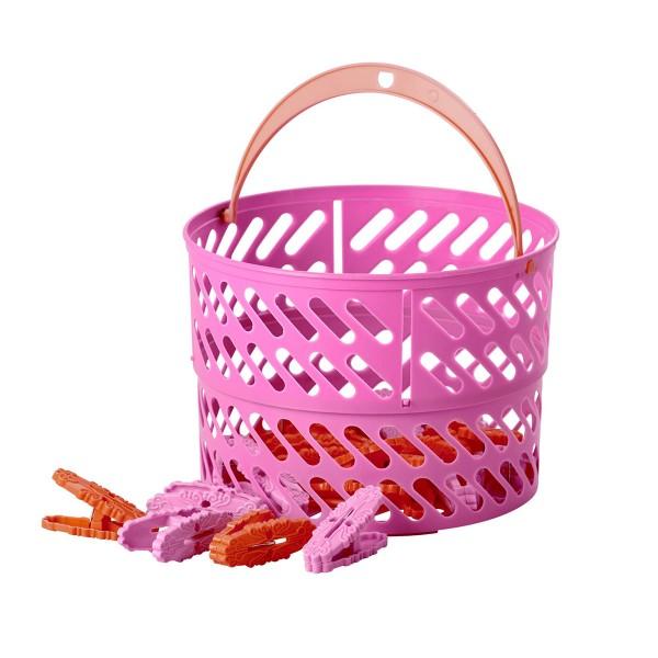 """Rice Wäscheklammerkorb """"Summer"""" (Pink)"""