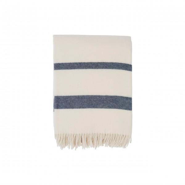 Lexington Wolldecke Streifen 130x170cm (Weiß / Blau)