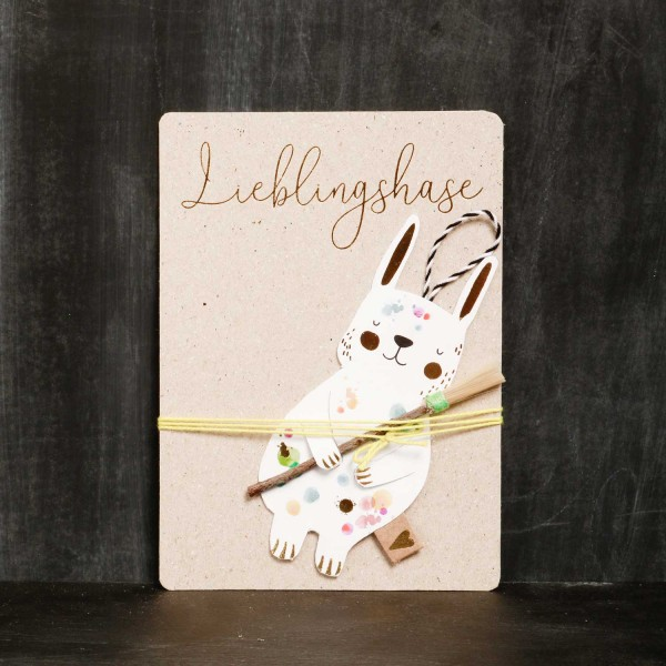 """Grußkarte Ostern """"Lieblingshasen - Pinsel"""" von Good old friends."""