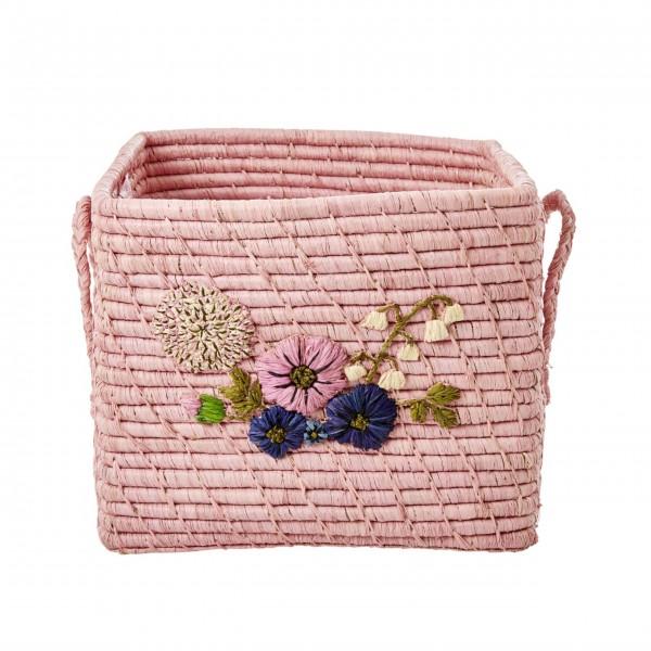 Rice Aufbewahrungskorb mit Blumenstickerei (Rosa)-1