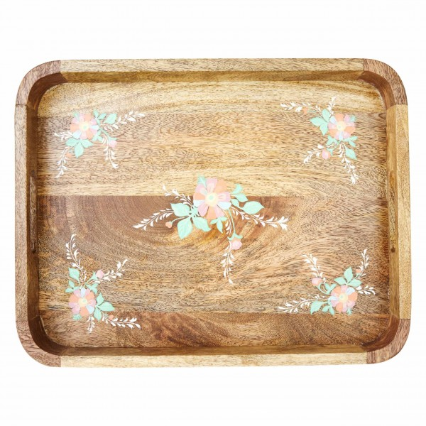Besonderes Holztablett mit romantischen Blüten