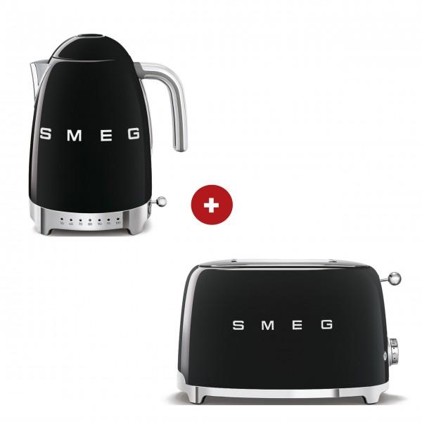 smeg Set – 2-Schlitz-Toaster kompakt und Wasserkocher variable Temperatur (Schwarz)