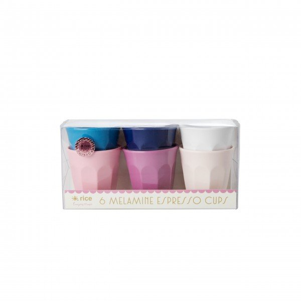 """Rice Melamin Espresso Becher-Set """"Assorted Simply Yes Colors"""" - 6 tlg.-1"""
