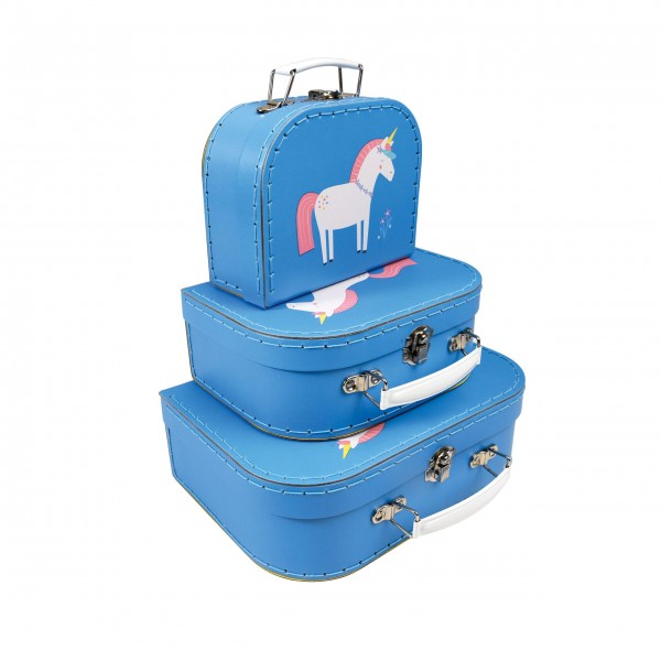 "Kinderkoffer ""Unicorn"" (Blau) im 3er-Set von Rex LONDON"
