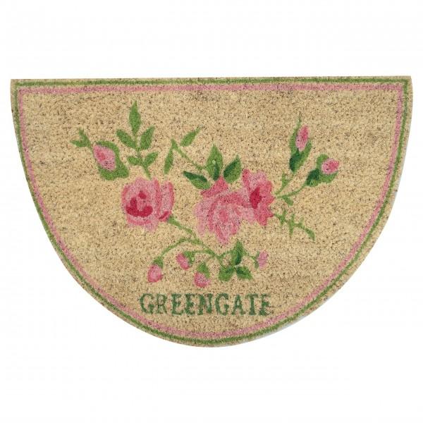 "GreenGate Kokos-Fußmatte ""Ottilia"" (White) - halbrund"
