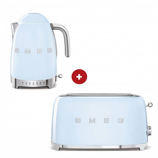 smeg Set – 2-Schlitz-Toaster lang und Wasserkocher variable Temperatur (Pastellblau)