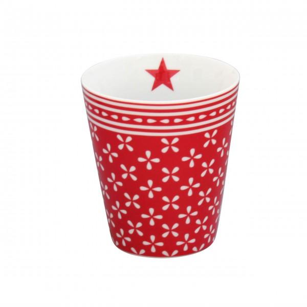 Roter Happy Mug von Krasilnikoff mit zauberhaften Muster