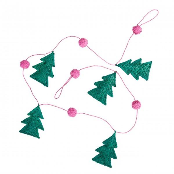 "rice Girlande aus Raffiabast ""Christmas"" - 100cm (Pink)"