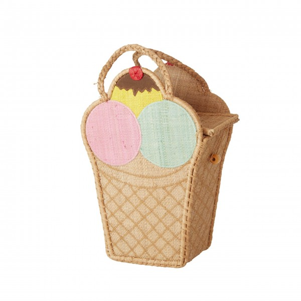 "rice Tasche aus Rafiia ""Ice Cream - Eis"" - Klein"