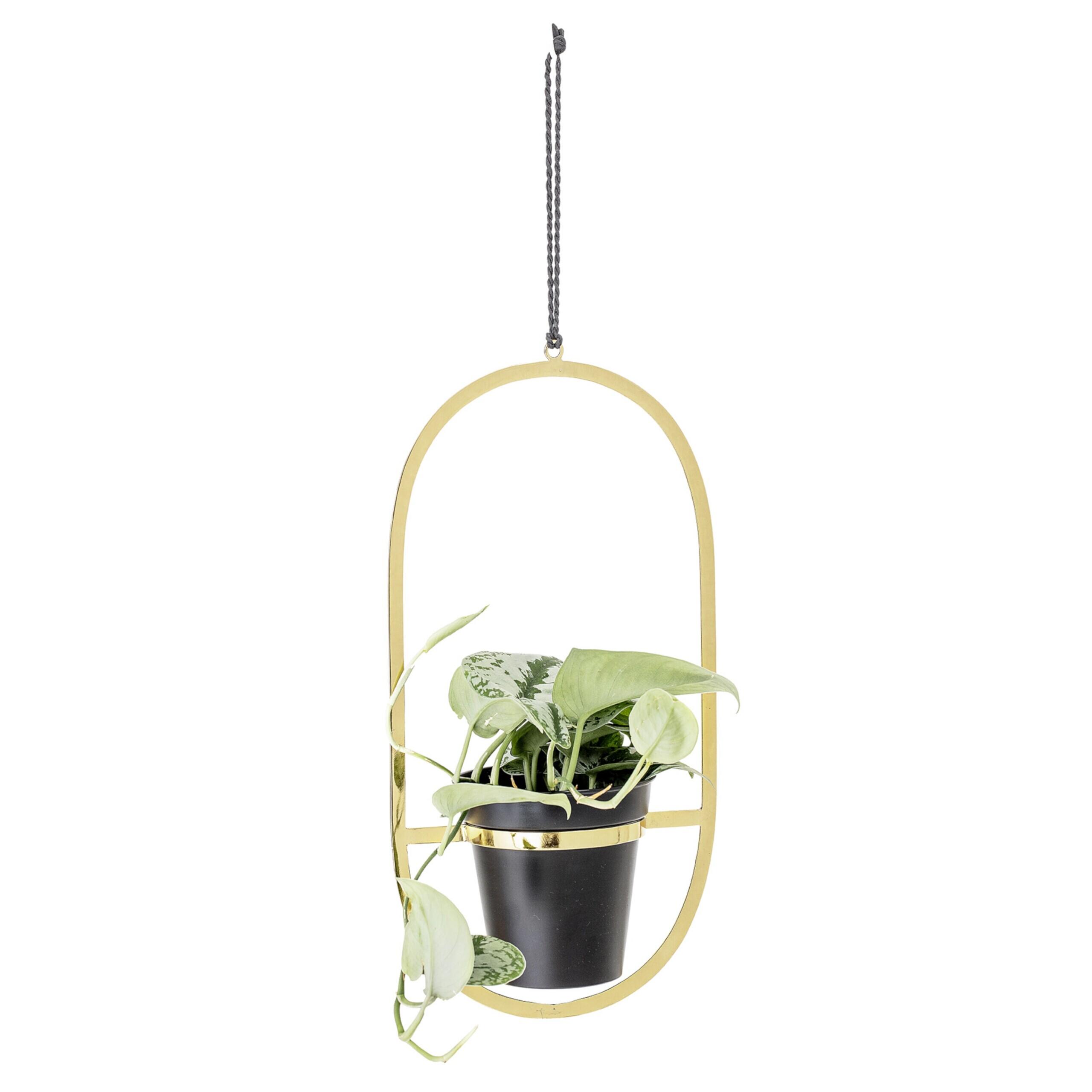Bloomingville Hangender Blumentopf Schwarz Gold