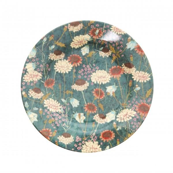 """Rice Melamin Teller """"Fall Flower""""-1"""