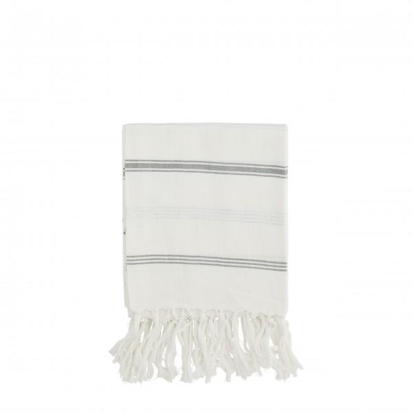 """Madam Stoltz Handtuch """"Streifen"""" (Weiß/Grau)"""