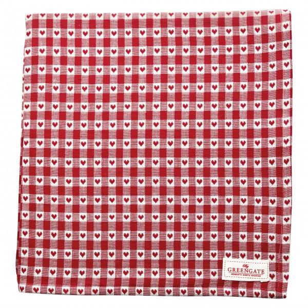 """GreenGate Tischdecke """"Heart Petit"""" (Red) - 145 x 250 cm"""