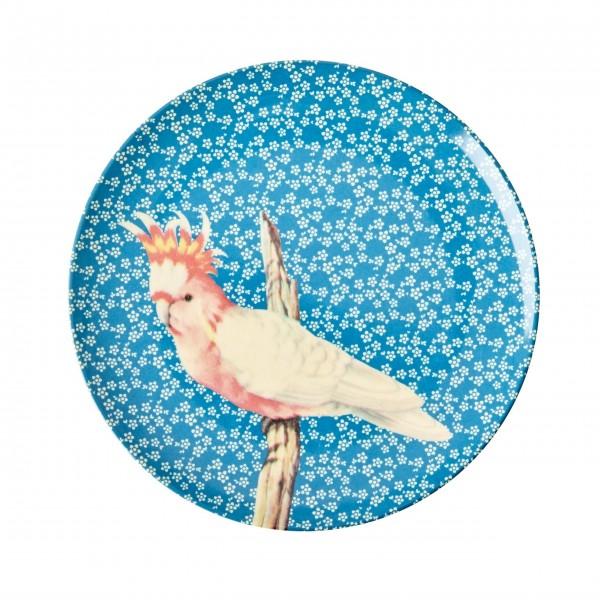 """Piep, piep, piep, wir haben uns alle lieb! Mit dem Rice Melamin Dessertteller """"Vintage Bird"""" (Blau) schmeckt alles besser!"""