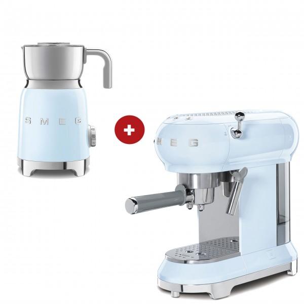 smeg Espressomaschine und smeg Milchaufschäumer im Set (Pastellblau)