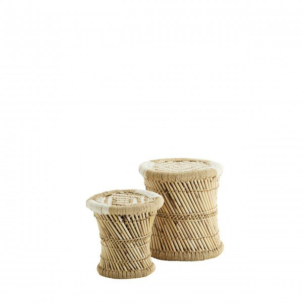 Madam Stoltz Beistelltisch / Hocker Set - Bambus