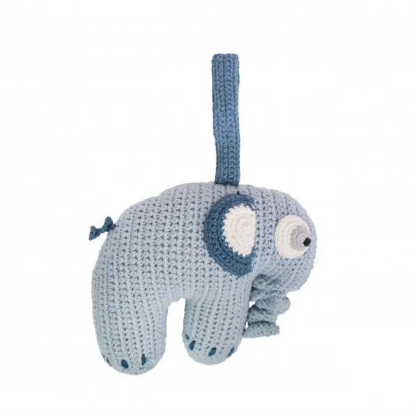 """Spieluhr """"Häkel-Elefant"""" (Blau) von sebra"""