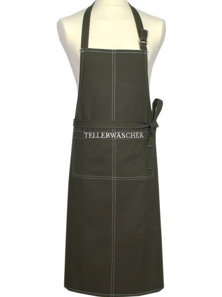 "Country Home Style Schürze ""Tellerwäscher"" (olivgrün/ivory) 70x95cm"