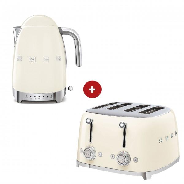 smeg Set – 4-Schlitz-Toaster und Wasserkocher variable Temperatur (Creme)