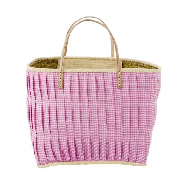 rice Korbtasche aus Raffia - Groß (Dunkles Pink)