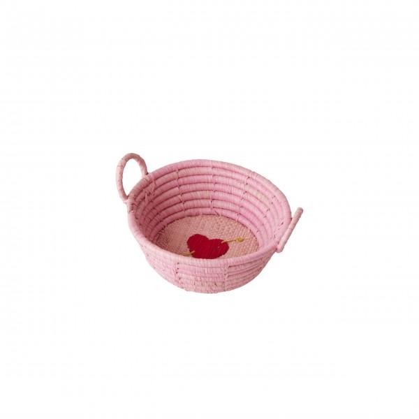rice Körbchen aus Raffia - Mini (Rosa)
