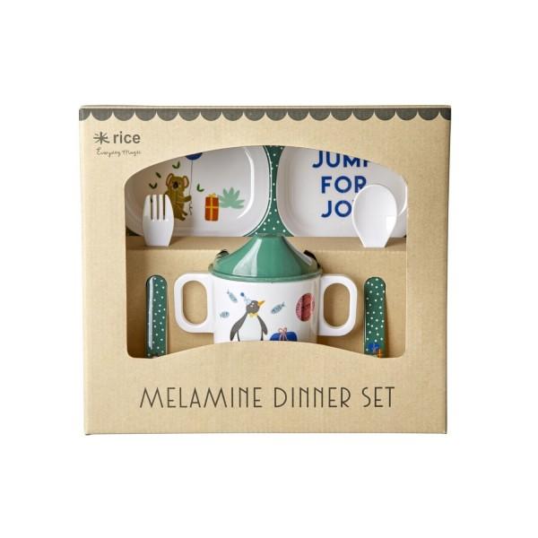 """rice Melamin Baby/Kinder-Geschirr im 4er-Set """"Party Animal"""" (Grün)"""