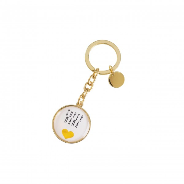 Gift Company Schlüsselanhänger Super Mama Cabochon (Gold)