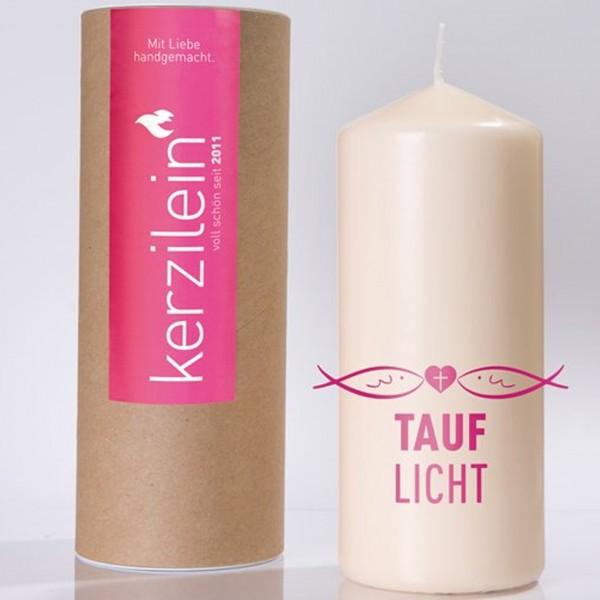 """Kerze """"TAUFLICHT"""" (Pink) von Kerzilein"""