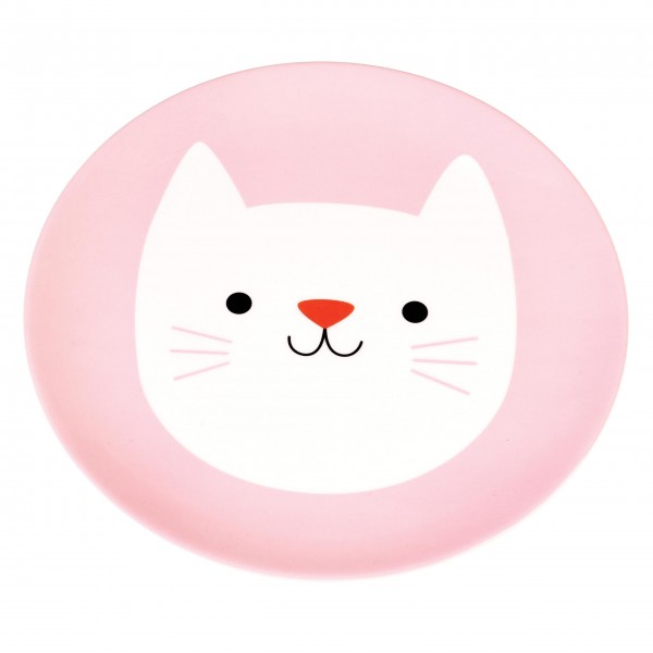 Melaminteller mit süßem Katzengesicht
