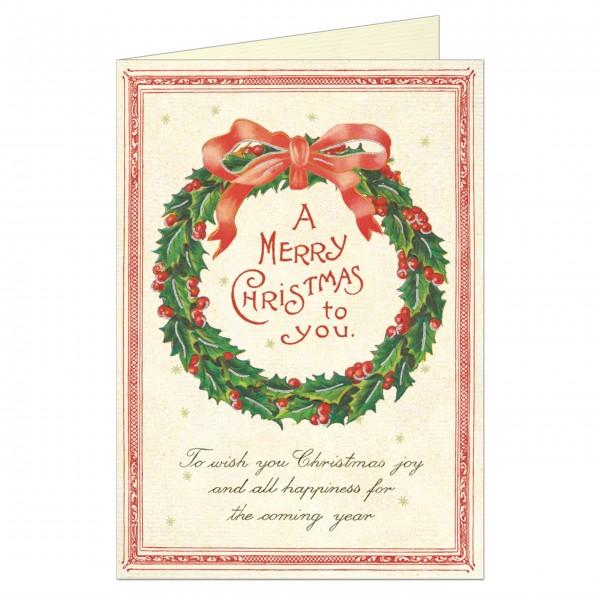Cavallini Weihnachtskarten Kranz