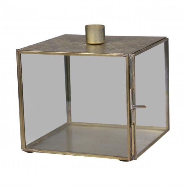 Chic Antique Kerzenständer mit Glaskasten - (Gold)
