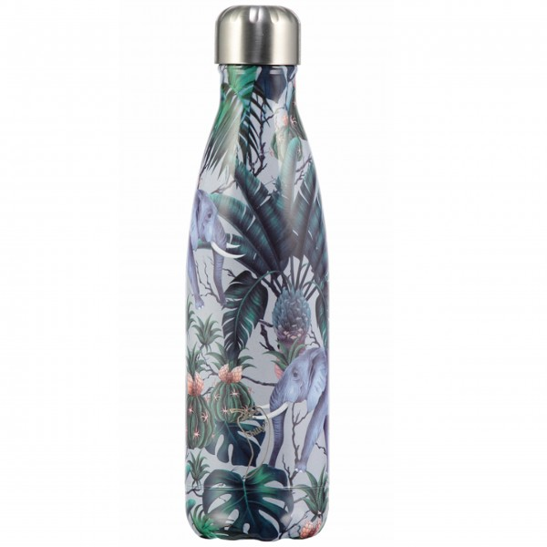 "CHILLY'S Bottle Isolierflasche ""Tropical Elephant"" - 750 ml (Grau/Grün)"