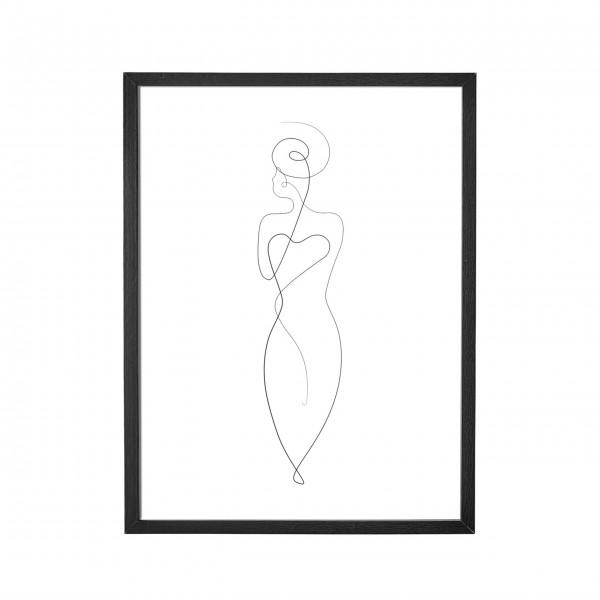 """Bloomingville Poster mit Rahmen """"Frau"""" (Schwarz)"""