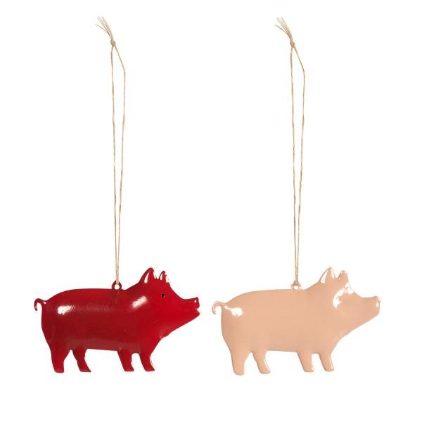 Glänzende Schweinchen für die Weihnachtsdeko - Anhänger von Maileg